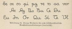 Sütterlin, Beispiele für Verbindungen (lateinisch) - Sütterlinschrift – Wikipedia Lateinisches Alphabet, Buchstabenverbindungen  Beispiele für nicht selbstverständliche Buchstabenverbindungen in lateinischer Schrift