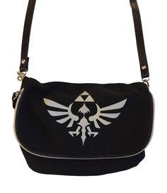 601bbcd60f9a Nintendo Zelda Black Cross Body Bag Canvas Purse Snap   Zipper Sections NWT   Nintendo Canvas