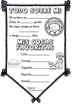 Todo Sobre Mi - All about me Spanish Spanish Classroom Activities, Spanish Teaching Resources, Bilingual Classroom, Bilingual Education, Classroom Language, Classroom Fun, Me Preschool Theme, All About Me Preschool, Teacher Must Haves