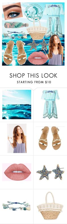 """""""Mermaid Beach Day"""" by movielooks ❤ liked on Polyvore featuring Temperley London, CocoOil, Ancient Greek Sandals, Anastasia Beverly Hills, Betsey Johnson, Chan Luu, Sun N' Sand and S'well"""