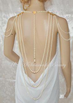 Swarovski Necklace,Wedding Necklace,Back Necklace,Prom Necklace,Gatsby jewelry, Vintage wedding, 1920's jewelry,Back Drop, Shoulder Necklace by USASwarovskiBeauty on Etsy https://www.etsy.com/listing/183422093/swarovski-necklacewedding-necklaceback
