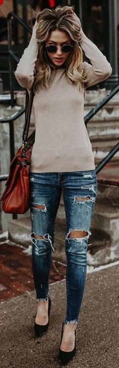 #winter #outfits gray knit sweatshirt and distressed denim jeans