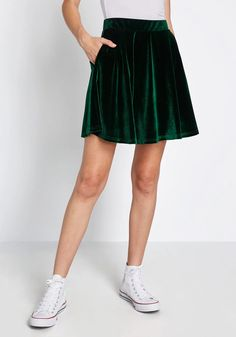 Just This Sway Velvet Skater Skirt - You'll definitely have that swing when you step out in this green velvet skater skirt! Part of our ModCloth namesake label, this A-line skirt touts a vintage-inspired, high-waisted design with handy hidden pockets.