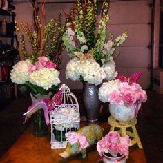 Flower centerpieces for girl baby shower
