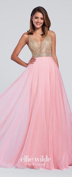 11e77dec702 Light Pink Chiffon Full A-Line Prom Dress - EW117118