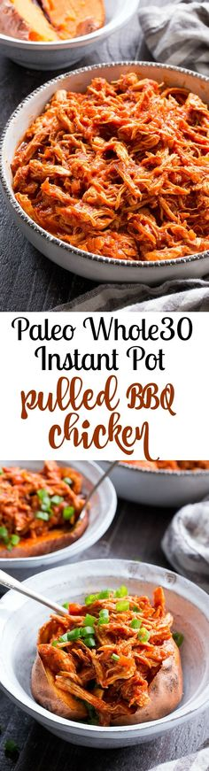 This simple Paleo and Whole30 Instant Pot BBQ Chicken is packed with flavor and perfect over a sweet potato or your favorite greens! An easy homemade BBQ sauce is cooked right in with the chicken for a meal that's ready in 20 minutes – perfect for weeknights and family approved!