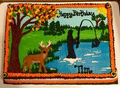 Fishing/hunting themed sheet cake #decoratedsheetcakes #sheetcakesdonthavetobeboring #fishingcakes