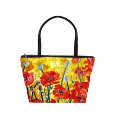 floral handbag tote bag, yellow floral handbag Large Shoulder Handbag... ($64) found on Polyvore