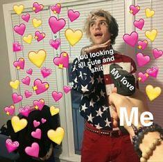 Me at my bestie Lil Peep Lyrics, Lil Peep Beamerboy, Lil Peep Hellboy, Heart Meme, Heart Emoji, Cute Love Memes, Snapchat Stickers, Wholesome Memes, Reaction Pictures