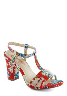 Mum Heel by Seychelles - Floral, Vintage Inspired, 60s, Summer, Mid, Chunky heel, Multi, Red, Blue, Party