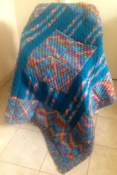 Handmade Knitted Squares Blanket on Etsy, $40.00 AUD