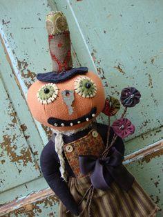 Halloween Folk Art Pumpkin Head Doll Matilda by Tattered Moon Lurena S. Williamson