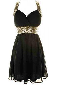 Cross Back Sequin Dress   USTrendy