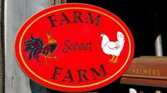 Barn Welcome Sign 16 x 12 PVC Board Engraved Chicken Coop Sign with a Rooster & Hen. A terrific gift for Free Range Chicken Loving Farmers! Keyhole slot for easy mounting