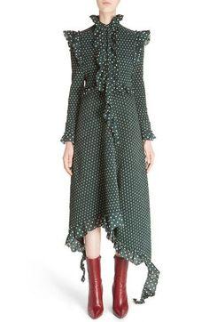 High Neck Frilled Polka Dot Dress
