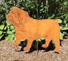 Bulldog Garden Stake or Wall Hanging Pet Memorial Rust