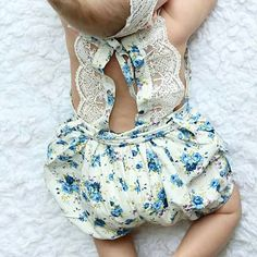 Vintage Lace Jumpsuit Romper - Blueberry Pie | Children's and Baby Clothing Boutique | Bailey's Blossoms