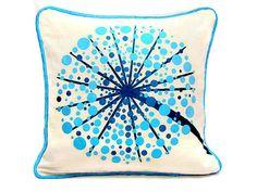 Blue Flower tree piping throw pillow sham  18x18 by SABDECO