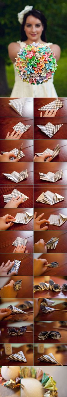 Букет из цветов в технике оригами