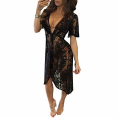 RRINSINS Womens Long Sleeve Sheer Floral Lace Bodycon Sequin Jumpsuit Pants Black Small