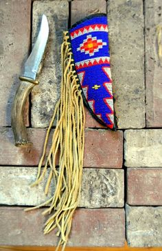 Old Native American Beaded Canes | Native American Beaded Knife Sheath and knife