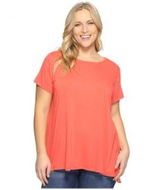 Vince Camuto Specialty Size Plus Size Short Sleeve High-Low Hem Mix Media Top (Coral Passion) Women's Clothing