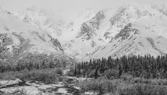 This was a big storm blowing in in Denali Park. I was stranded at the river camp here for many hours until it was clear enough for the 50 km journey out. This was fall in Alaska. River Camp, Winter Scenery, Fire And Ice, Winter Landscape, Nature Photos, Alaska, National Parks, World, Travel