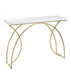 WOODEN_METAL CONSOLE IN WHITE_GOLDEN 110X33X80
