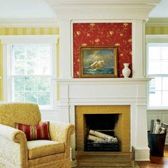 A new double-height mantel frames the fireplace in what is now the master suite sitting room.