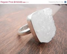 Sale Large White Druzy Ring, Sterling Silver Ring, Silver Druzy Ring, Sugar Cube Ring, Vanilla Druzy, Big Agate Ring,