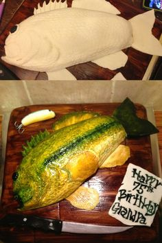 Hand painted bass fish cake