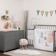 Carter's Woodland Meadow Crib Bedding turns your little one's nursery into a whimsical, enchanted forest. Styled with geometric shapes to form classic woodland symbols, this charming set has a retro feel that is charming and adorable.