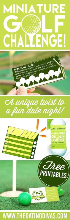 Miniature Golf- With a TWIST!!! Such a FUN date night idea from TheDatingDivas.com  Printable download included.