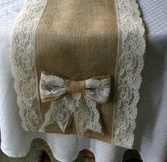 burlap and lace | Burlap and lace table runners, French country weddings, shabby…