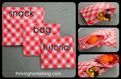 How to Make reusable snack bags from oil cloth