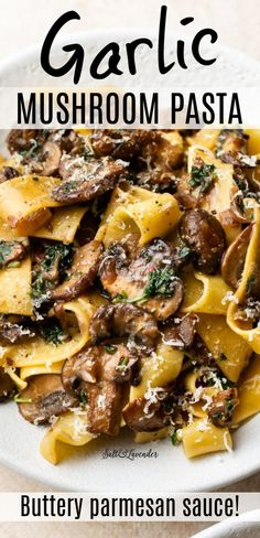 This garlic butter mushroom pasta recipe is so easy to make for a quick weeknight meal! The addictive garlic parmesan sauce has zesty lemon and parsley for a fresh, simple, and bright meal. Italian Recipes, New Recipes, Vegetarian Recipes, Dinner Recipes, Cooking Recipes, Healthy Recipes, Healthy Mushroom Recipes, Mushroom Meals, Burger Recipes