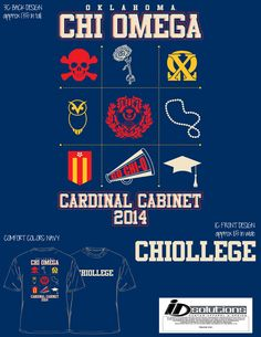 Chi Omega t-shirt for Cardinal Cabinet #chio #oklahoma #greek #sorority
