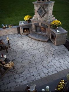patio & fireplace created with a mixture of stones