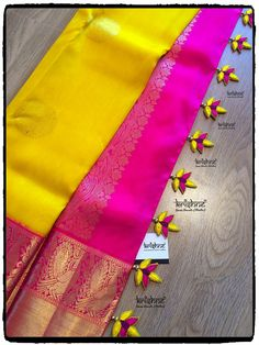 Saree Design Patterns, Saree Tassels Designs, Saree Kuchu Designs, Pattu Saree Blouse Designs, Fancy Blouse Designs, Zardozi Embroidery, Hand Embroidery, Saree Border, Simple Sarees