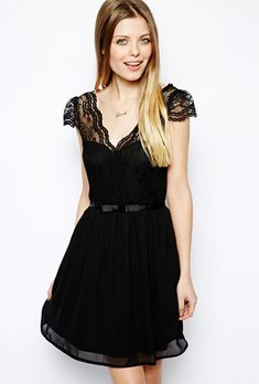 Brides.com: Affordable (and Stylish!) Bridesmaid Dresses Under $100 . Skater dress with scalloped wrap, $71.51, ASOS  See more v-neck bridesmaid dresses.