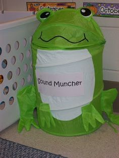 The sound muncher! This sound muncher likes to eat (be filled) with items that begin with/ have in them the sound we are learning that week. He belongs in the writing area for children to pick out items their friends have brought in and write about them.