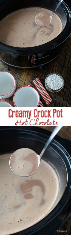 Creamy Crockpot Hot Chocolate this recipe is so easy and it feeds a crowd (Chocolate Desserts Crockpot) Crockpot Hot Chocolate, Hot Chocolate Bars, Hot Chocolate Recipes, Chocolate Smoothies, Chocolate Shakeology, Lindt Chocolate, Chocolate Mouse, Chocolate Crinkles, Chocolate Drizzle