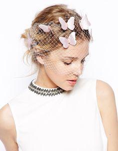 hair veil with butterflies