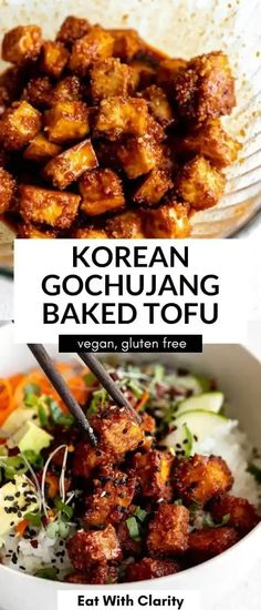 These crispy baked korean tofu bowls have spicy gochujang tofu, rice, veggies and avocado. These buddha bowls are healthy, easy to make and packed with flavor. perfect for an easy vegan dinner! Quick Vegetarian Dinner, Easy Vegan Dinner, Vegan Dinner Recipes, Healthy Breakfast Recipes, Vegan Dinners, Chickpea Recipes, Tofu Recipes, Dairy Free Recipes, Pasta Recipes
