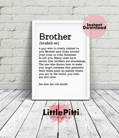 Brother Definition Sign Print Quote Gift Ideas Older Meaning For Gifts