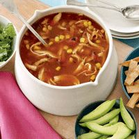 SKINNY TORTILLA SOUP W/AVOCADO 1 1/2 corn tortillas 2/3 cup low-fat, low-sodium chicken broth 1 cup canned, diced fire-roasted tomatoes 2 chipotle chiles in adobo sauce, chopped fine 2/3 cup store-bought hot fresh salsa 1/2 cup fresh or frozen corn kernels 1 cup cooked skinless chicken breast Salt and freshly ground black pepper 1/3 ripe Hass avocado, sliced 1/3 cup chopped fresh cilantro