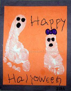 Halloween Handprint & Footprint Ghosts - Fun Handprint Art