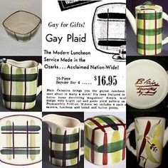 In the latter half of the 1940s and the first half of the 1950s, Blair Dinnerware took the country by storm. It was manufactured in Ozark by Bill Blair and is still collected today. There were several lines, including the most popular—the 'Gay Plaid' pattern which featured swatches of dark green, chartreuse and cinnamon brown on a white background. In addition, there were a green 'Pear' pattern, a stylized 'Leaf' pattern, a 'Bird' pattern and a white-washed red 'Brick' pattern. By 1949 the…