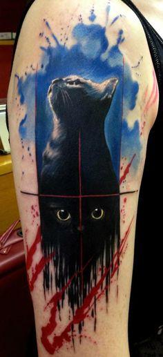Paint Flowed Black Cat Trash Polka Aquarelle tattoo by Adam Kremer