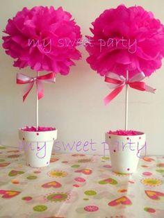 centros de mesa arbolitos de tul - Buscar con Google Pink Parties, Birthday Parties, Daddy Daughter Dance, Diy And Crafts, Paper Crafts, Deco Table, Baby Party, Paper Flowers, Party Planning